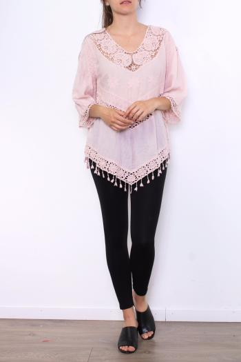 TOP PONCHO ROSE